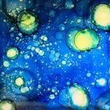 Звёздное небо в чернилах спирта Стоковое Изображение RF