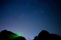 Звёздное небо увиденное от Meteora, Греции стоковые изображения
