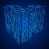 Здание архитектуры Wireframe Стоковые Фото