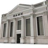 Здание банка с столбцами на белизне иллюстрация 3d иллюстрация штока