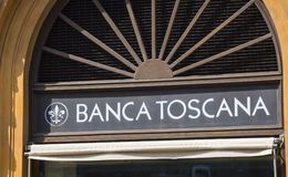 Здание банка Тосканы в Флоренсе вызвало Banca Toscana - ФЛОРЕНС/ИТАЛИЮ - 12-ое сентября 2017 стоковые изображения