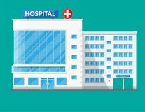 Здание больницы, медицинский значок Стоковое фото RF