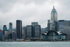 Здание Гонконга отстраивать с облаком смога стоковое фото