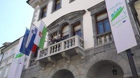 Здание городской ратуши в Любляне видеоматериал