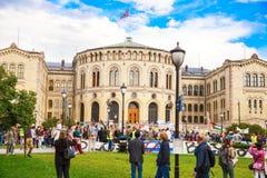 Здание и демонстрация парламента Осло Стоковые Фото