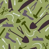 Здание и картина силуэта инструментов плотничества безшовная Стоковые Фото