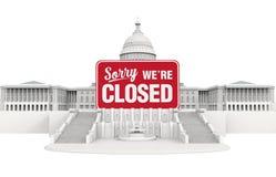 Здание капитолия Соединенных Штатов с закрытым знаком Иллюстрация выключения правительства иллюстрация штока