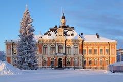 Здание муниципалитет в зиме, Финляндия Куопио Стоковое Изображение