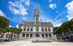 Здание муниципалитет Порту на квадрате Liberdade, Порту, Португалии Стоковые Фотографии RF