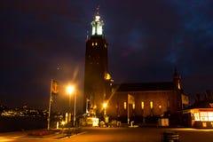 Здание муниципалитет Стокгольма к ноча Стоковая Фотография