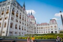 Здание парламента Будапешта венгерское с голубым небом Стоковые Фотографии RF