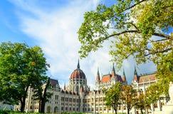 Здание парламента Будапешта в солнечном дне Стоковая Фотография RF