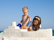 здание пляжа ягнится sandcastle Стоковое Изображение