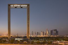 Здание рамки Дубай на восходе солнца Стоковое Фото