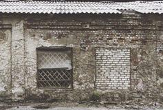Здание старого кирпича одн-этажа промышленное Стоковое Фото