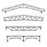 Здание толя, крышка железного каркаса, комплект ферменной конструкции крыши, иллюстрация вектора Стоковые Фото