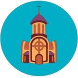 Здание церкви Брауна с колокольней и крест на верхней части и 2 расширения с окнами на стороне и большой двери внутри иллюстрация штока