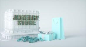 Здание ювелирного магазина, присутствующая коробка и бумажная сумка, самоцветы и диаманты перевод 3d иллюстрация штока