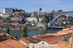 Здания берег реки, em porto крыш, Португалия Стоковые Изображения