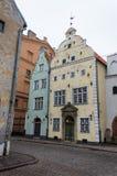 3 здания братьев в старом городке Риги Латвии стоковые фото