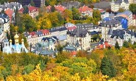 Здания взгляда сверху города живописные стоковая фотография