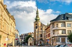 Здания в старом городке Prerov, чехии Стоковые Фотографии RF