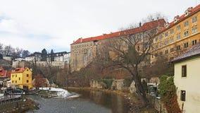 Здания замка средневекового cit Cesky Krumlov стоковая фотография