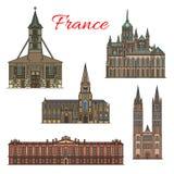 Здания фасада вектора ориентир ориентиров перемещения Франции иллюстрация вектора