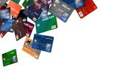 Здесь большая группа в составе кредитные карточки которые кажется, что плавают или лететь иллюстрация штока
