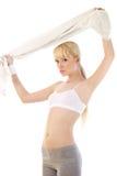 Здоровая белокурая женщина над белизной Стоковые Фотографии RF