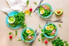Здоровая еда вытрезвителя служила в шарах, взгляде сверху Стоковые Фотографии RF