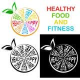 Здоровая еда и фитнес Значок в 3 версиях, который овеществляет Иллюстрация вектора