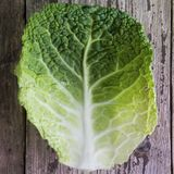 Здоровая еда и Dieting концепция Один лист капусты над деревенской деревянной предпосылкой Красивое зеленое текстурированное leaf стоковое изображение