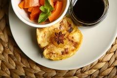 Здоровая еда от испеченных яблока и тыквы Стоковая Фотография