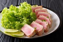 Здоровая еда: стейк тунца ahi в мякишах хлеба служил с lettu стоковые фотографии rf