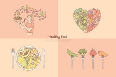 Здоровая еда, еда фрукта и овоща, женщина варя салат veggies, вегетарианская диета, витамины и знамя питания бесплатная иллюстрация