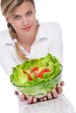 здоровая женщина серии салата уклада жизни удерживания Стоковые Фото