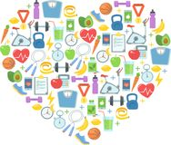 Здоровая иллюстрация вектора образа жизни Фитнес, питание и здоровье стоковое фото