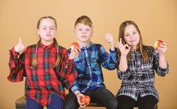 Здоровое питание dieting и витамина Мальчик и подруги едят закуску яблока пока ослабляющ Концепция закуски школы Подросток стоковое фото