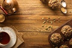 Здоровые булочки тыквы с предпосылкой падения семян Стоковая Фотография RF