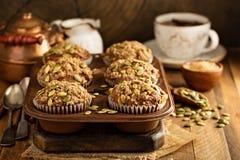 Здоровые булочки тыквы с семенами Стоковые Фото