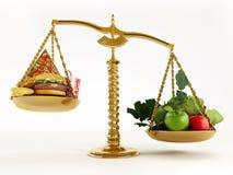 Здоровые еда и высококалорийная вредная пища в масштабах сбалансированного масштаба иллюстрация 3d иллюстрация вектора