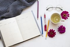 Здоровые напитки и плановик тетради для работы дела стоковое фото rf