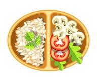 Здоровый вегетарианский очень вкусный обед в овальном пластмасовом контейнере бесплатная иллюстрация