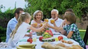 Здоровый жизнерадостный выпивать семьи vitaminized свежий сок, празднуя традиции сток-видео