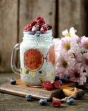 Здоровый завтрак пудинг с семенами chia, сиропом столетника, молоком, смоквами и замороженными ягодами поленик и голубик Стоковая Фотография