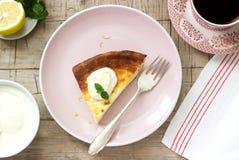 Здоровый завтрак сделанный из мягкого сотейника творога с пылом овсяной каши и лимона, который служат со сметаной и мятой стоковая фотография