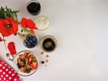 Здоровый завтрак с взглядом сверху космоса текста стоковые изображения