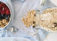 Здоровый завтрак с югуртом, granola и плодоовощ стоковые изображения