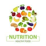 Здоровый значок еды Плодоовощи нарисованы в стиле шаржа Изолированная белая предпосылка иллюстрация вектора